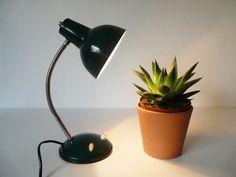 Vintage Gooseneck Table Lamp Green Industrial Desk by FlyingSpoon