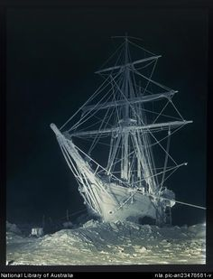 The long, long night [the Endurance in the Antarctic winter darkness, trapped in the Weddell Sea, Shackleton expedition, 27 August 1915  by  Frank Hurley, Australian photographer