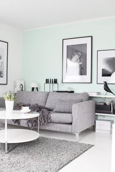 calming colors....mint green, white & grey