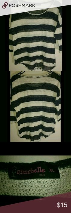 Annabelle Shirt Beautiful high-low #Annabelle thick blue and white striped knit shirt. Annabelle Tops Sweatshirts & Hoodies