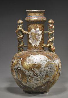SATSUMA WARE | Large Japanese Satsuma/Kyoto Ware Urn