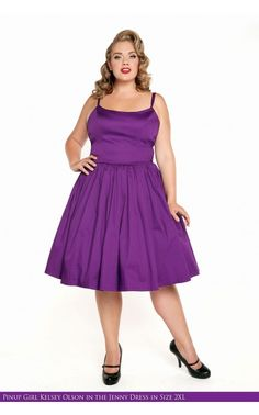 638fcde9fff Pinup Couture - Jenny Dress in Dark Purple - Plus Size