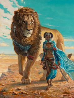 "Southlands by AaronMiller |  Traditional Art / Paintings / Fantasy | Character beast master lion desert | Author's note: ""Cover for an upcoming Pathfinder based rulebook from Open Design. oil on panel"""