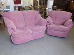 Pink Faux Suede Sofa With Reclining Arm Chair - Local delivery service available, H90cm, W150cm, D100cm. Width of recliner 104cm £65  (PC382)