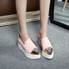 Womens Low Heel Slip On Loafers Shoes Metal Rhinestones Pointy Toe Creepers  HOT in Clothing 32e23617f673