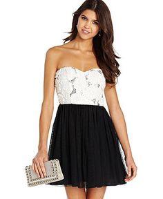 Speechless Juniors Dress, Strapless Sequin Rosette - Juniors Dresses - Macy's