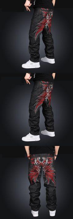 Fashion Black Harem Jeans Men Joggers Printed Pants Male Casual Hip Hop Baggy Loose Sweatpants Long Trousers Pantalon Homme z15