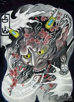 武汉专业纹身店:满背般若樱花纹身图案图片