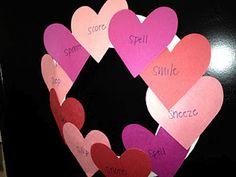 Valentine's Heart Wreath using speech sound words