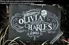 Wedding chalkboard art - wedding chalk board - wedding sign- custom chalkboard. $149.00, via Etsy.