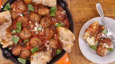 Spaghetti and drop meatballs with tomato sauce recipe nyt cooking Tomato Basil Sauce, Tomato Sauce Recipe, Sauce Recipes, Meat Recipes, Cooking Recipes, Yummy Recipes, Italian Dishes, Italian Recipes, Kitchens