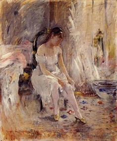 "art-mirrors-art: "" Berthe Morisot - Jeune fille enfilant son bas {Girl putting on her stockings} (1880) """