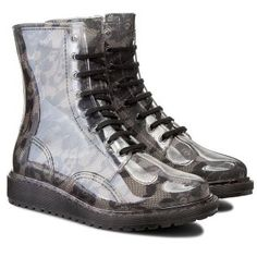 Ghete cauciuc transparente cu siret si imprimeu dantela Guess Dr. Martens, Combat Boots, Casual, Shoes, Fashion, See Through, Moda, Shoes Outlet, Fashion Styles
