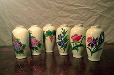 Vintage Homco mini miniature bud vases COMPLETE SET OF SIX floral Flowers Balloon Flowers, Porcelain Ceramics, Bud Vases, Floral Flowers, Pillar Candles, Lilac, Balloons, Miniatures, Vintage