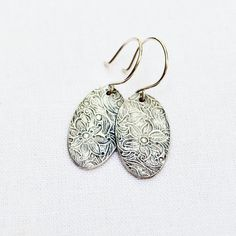 Silver Floral Earrings PMC Fine Silver Sterling by BeadinByTheSea, $38.00