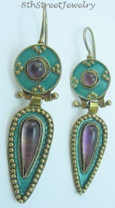 Estate Gold Gilt Sterling Silver 925 Amethyst Enamel Handcrafted Dangle Earrings #Unbranded #DropDangle