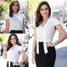 140 Likes 9 Comments Blouse Styles, Blouse Designs, Casual Outfits, Fashion Outfits, Womens Fashion, Look Office, Work Fashion, Fashion Design, Blouse Outfit