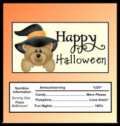GIFTS THAT SAY WOW - Fun Crafts and Gift Ideas: Free Printable Halloween Bear Candy Wrapper