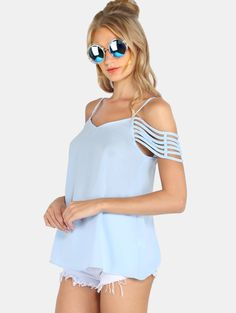 Online shopping for Blue Spaghetti Strap Cold Shoulder Blouse from a great selection of women's fashion clothing & more at MakeMeChic.COM.