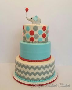 First birthday baby elephant with gray chevron and aqua & red accents