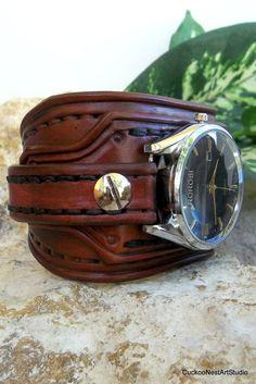 Men's watch, Leather Wrist Watch, Leather Cuff, Bracelet Watch, Handmade