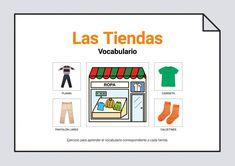"""Material para trabajar la identificación de objetos y el vocabulario relacionado con las tiendas. Está compuesto de 9 fichas para trabajar el vocabulario de: """"farmacia"""", """"tienda de ropa"""", """"tienda de muebles"""", """"frutería"""", """"ferretería"""", """"tienda de electrodomésticos"""", """"tienda de informática"""", """"papelería"""" y """"tienda de juguetes"""".Material realizado con pictogramas de Arasaac y fotografías de #Soyvisual.Disponi..."""