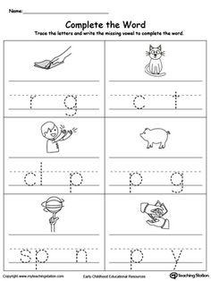 Fill in the Missing Vowel Part1 Missing Letter Worksheets, English Worksheets For Kindergarten, Vowel Worksheets, Alphabet Worksheets, Printable Worksheets, Preschool Worksheets, Kindergarten Readiness, Letter Sound Games, Word Games