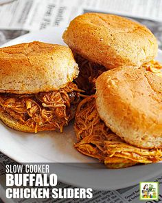 This Slow Cooker Buffalo Chicken Sliders recipe is delicious. These spicy shredded chicken sliders are easy to make in your crock-pot for a party or dinner. Best Gluten Free Recipes, Meat Recipes, Slow Cooker Recipes, Crockpot Recipes, Chicken Recipes, Crockpot Dishes, Crock Pot Sandwiches, Crockpot Party Food, Buffalo Chicken Sliders