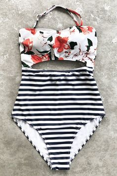 Cupshe Open Lilies Print One-piece Swimsuit