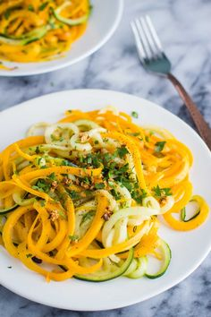 These Garlic Herb Spiralized Veggies are SO easy to make and a delicious (VEGAN AND GLUTEN FREE) alternative to traditional noodles.   @bfota