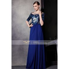 New Blue Beaded Half Sleeve Pleated A-Line Prom Dress 81895 ❤ liked on Polyvore featuring dresses, pleated prom dress, blue cocktail dress, blue a line dress, beaded dress and blue dress