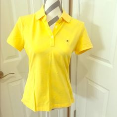 Bright yellow Tommy shirt Very bright yellow Tommy Hilfiger shirt Tommy Hilfiger Tops