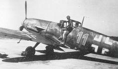 """Messerschmitt Bf 109G-2 4.EJGr.West Blue 11 """"HILDE"""" Heinz Schmidt Cazaux France 1943 Ww2 Aircraft, Fighter Aircraft, Fighter Jets, Battle Of Moscow, Battle Of Stalingrad, Focke Wulf Fw 190, Luftwaffe, World War Two, Wwii"""