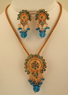 Intricate designed set with Teal Blue stones-jcn655  http://www.craftandjewel.com/servlet/the-21/Intricate-designed-set-with/Detail