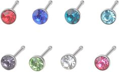sailimue Jewelry 8PCS 20-22G 316L Surgical Stainless Steel CZ Nose Bone Stud Piercing for Men Women Stud Ring Piercing 1.5-3mm