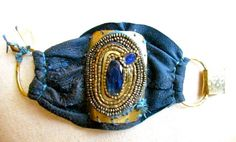 De Petra leather cuff Master Pieces with lamb leather kyanite and brass