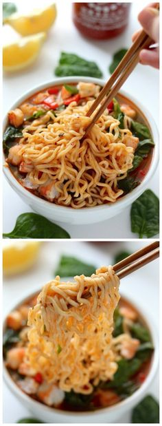 20-Minute Spicy Sriracha Shrimp Ramen Noodle Soup! So much YUM.