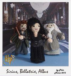 #amigurumi Harry Potter, Bellatrix, Sirius, Albus