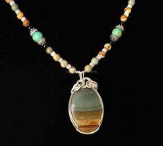 Large Owyhee Picture Jasper Wrapped in Sterling Silver Wire W/Owyhee Jasper, MOP Bali Silver and Turquoise Beads!
