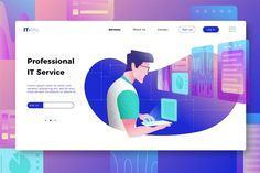 , Professional IT Services - Banner & Landing Page- Suitable for your design needs, All elements on this template are editable with adobe Web Ui Design, Site Design, Layout Design, Flat Design, Graphic Design, App Landing Page, Landing Page Design, User Experience Design, Flat Illustration