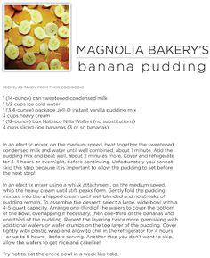 magnolia bakery's banana pudding