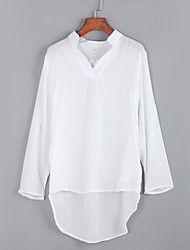 Feminino Blusa Casual Moda de Rua Outono,Sólido / Letra Azul / Branco Poliéster Colarinho de Camisa Manga Longa Média
