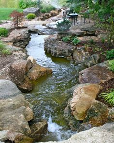 Koi ponds are popular among people looking for stunning backyard ideas and closeness to Mother Nature. Backyard Stream, Garden Stream, Backyard Water Feature, Ponds Backyard, Backyard Ideas, Garden Ideas, Koi Ponds, Backyard Waterfalls, Sloped Backyard