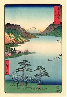 Woodblock print Japanese Ukiyoe Hiroshige Lake Suwa