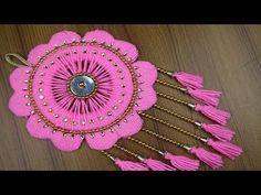 Amazing Woolen Crafts ideas - How to Make Beautiful Woolen Door/Wall Hanging Toran - Woolen Design Door Hanging Decorations, Diwali Decorations, Wall Hanging Designs, Woolen Craft, Macrame Wall Hanging Diy, Spoon Art, Plastic Bottle Crafts, Crafts For Seniors, Church Crafts