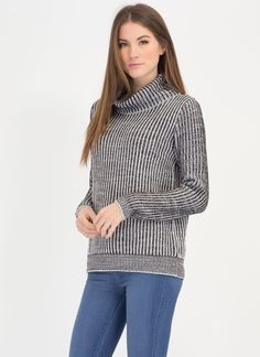 Earn Your Stripes Knit Turtleneck Sweater CHARCOAL