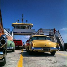 Classic cars on the Currituck Ferry, via @therealryanrob- #webstagram