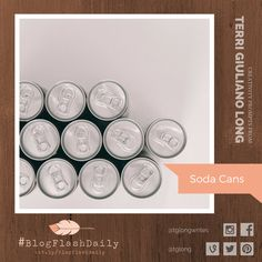 Today's creativity prompt is SODA CANS. prompts are provided every weekday by author Terri Giuliano Long. Writing Art, Prompts, Soda, Creativity, Canning, Personalized Items, Blog, Beverage, Home Canning