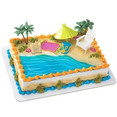 Beach Chair & Umbrella Cake Decorations Includes (1) beach chair, (1) beach umbrella, (1) sand castle, (2) palm trees and (1) bucket. Plastic. Weight (lbs) 0.1 Length (inches) 4.5 Width (inches) 4.5 Height(inches) 2.75 Birthday Party Supplies Multi-colored One Size Birthday Unisex All Ages