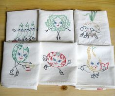 This is how I learned to embroider!   1950s hand embroidered dish towels with veggies...six in all!